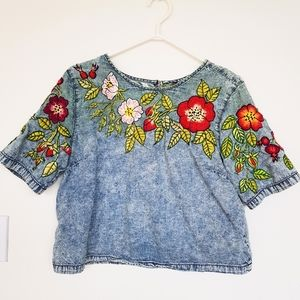 Hand Embroidered Denim Cropped Tshirt